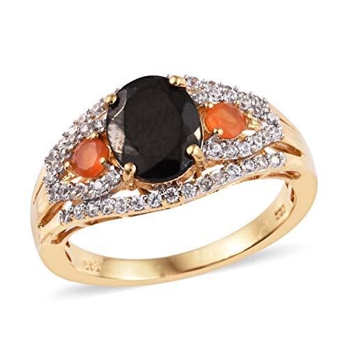 Promise Ring 925 Sterling Silver Vermeil Yellow Gold Shungite Carnelian Jewelry for Women Size 10 Ct 2.1