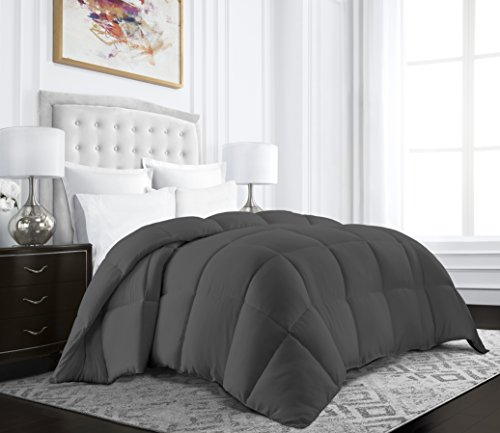 Beckham Hotel Collection Egyptian Quality Cotton Goose Down Alternative Comforter - 750 Fill Power - Premium Hypoallergenic All Season Duvet - Twin/Twin XL - Gray - Egyptian Cotton Comforter