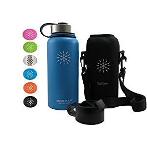 Smart Flask Stainless Steel Water Bottle, 32 Oz., Wide Mouth, Vacuum Insulated, Includes Carrying Pouch with Adjustable Shoulder Strap, Leakproof Metal Lid, and Flip Top Lid, (Caribbean Blue)