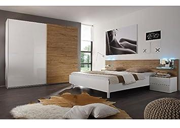 Schlafzimmer komplett Taranto Weiß Hochglanz Eiche Natur ...