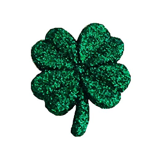 Designs by DH Small Green Glitter Shamrock Four Leaf Clover St. Patrick's Day Lapel Pin (Dark Emerald -