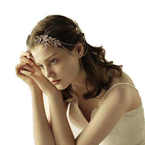 Vintage Bridal Gold leaf Hair Comb Headpiece Greek/Roman Bridal Hair Accessories for Women Wedding with Pearl Rhinestone (No Box, Gold)
