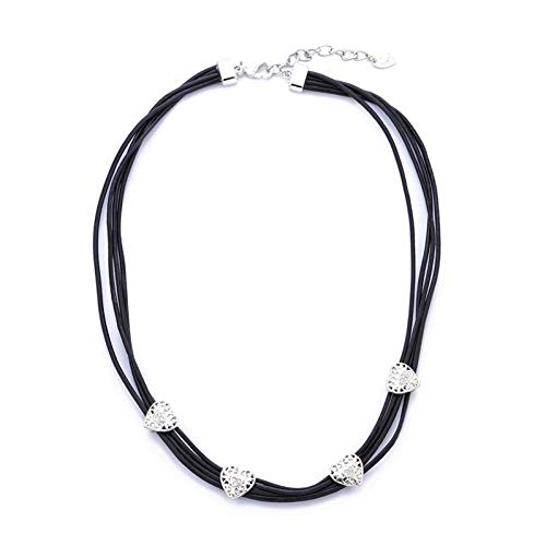 AISHIPING Vintage Sweet Heart Rope Chain Necklace Silver Colour Multi-Layer Chain Clear Crystal Women Choker Necklace Jewelry
