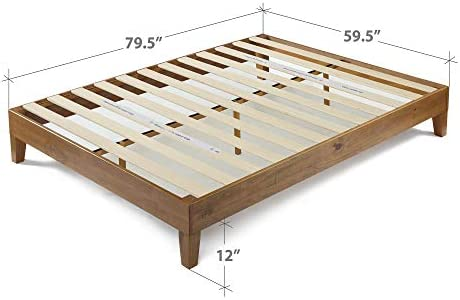 ZINUS Alexis Deluxe Wood Platform Bed Frame / Solid Wood Foundation / No Box Spring Needed / Wood Slat Support / Easy Assembly, Rustic Pine, Queen 41SouylA1JL