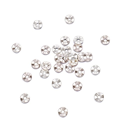 Pandahall 100pcs Tibetan Silver Antique Silver Flat Round Bead Spacers Charms for Jewelry Makings Lead Free 7mm Hole: 1mm