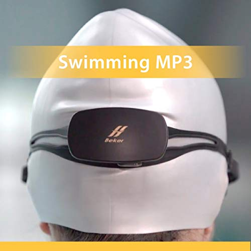 Happy Island Beker Swimming MP3 with IPX8 Waterproof Features in Bone Conduction, Wireless Headphones, 8GB Memory, Underwater Music Player for Watersports. (Headphones Mp3 Memory)