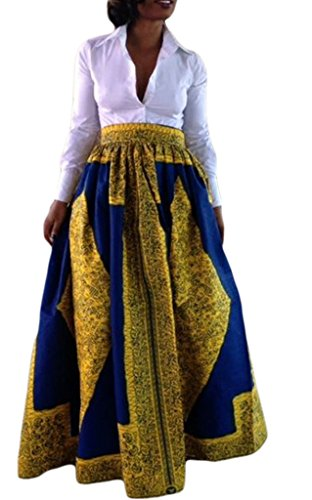 Annflat Women's African Floral Print Maxi Skirts A Line Long Skirts With Pocket X-Large Multi2