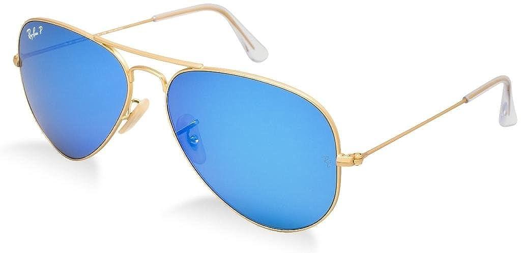 becb770c41 Amazon.com  Ray Ban RB3025 112 4L 58 Matte Gold Blue Mirror Polarized  Aviator Bundle-2 Items  Shoes