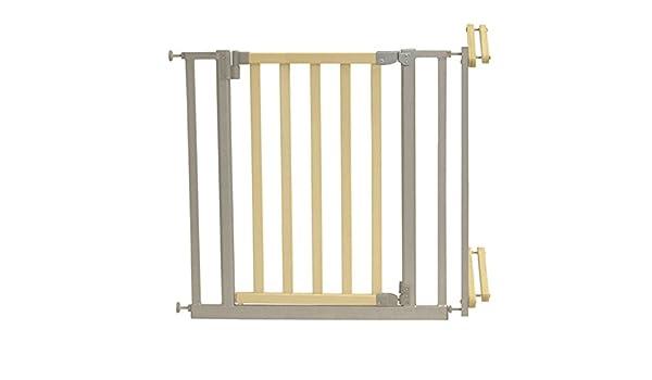 Barrera de seguridad para escaleras Madera Metal Incluye Tornillos y tacos • Baby Escaleras rejilla para puerta Natural: Amazon.es: Productos para mascotas