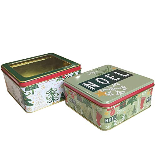 Christmas Cookie Tins With Window Metal Lids Cover For Gift Giving Empty Candy Treats Ginger Snaps Swap Containers Snack Exchange Boxes Cerebrate a Holiday Goodie Party Favors Set of 2 Square Shape (Lids Tin Christmas The)