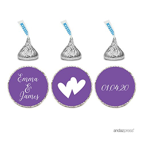 Andaz Press Personalized Wedding Chocolate Drop Label Stickers, Interlocking Double Hearts, Royal Purple, 216-Pack, for Engagement Bridal Shower Hershey's Kisses Party Favors (Purple Heart Double)