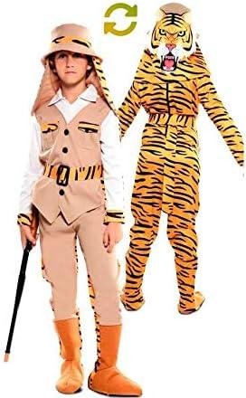 EUROCARNAVALES Disfraz Doble de Cazador y Tigre para niños