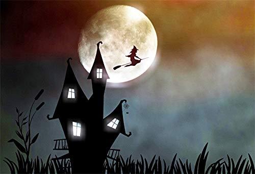 Lessonmart Cartoon Castle Witch Happy Halloween Scene Photographic