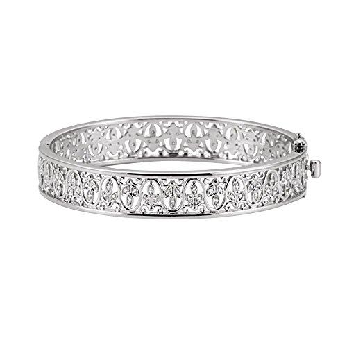 14k White Gold Diamond Bangle Bracelet 1/2ct