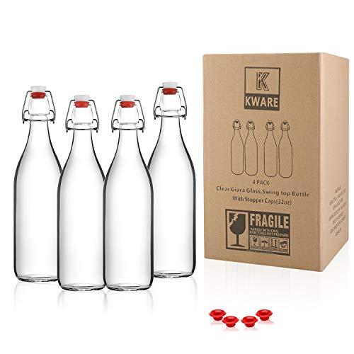 Kware - Best Swing Top Glass Bottle [33.75 oz/1 liter] - Set of 4 - Giara Glass Bottle with Stopper - Caps Gasket Seal Airtight, for Kombucha, Oil, Vinegar, Beverages, Kefir - Clear
