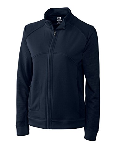 Cutter & Buck LCK08514 Womens Cb Drytec Edge Full Zip, Solid Navy Blue-M