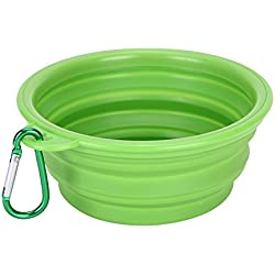 wonderflowers New Collapsible Pet Cat Dog Dish Water Feeder Silicone Travel Feeding Bowl Free Carabiner Green Color