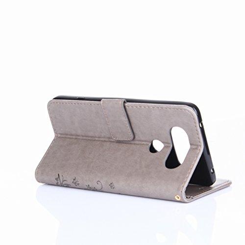 Yiizy LG V20 (H910, H918, LS997. US996. VS995) Custodia Cover, Erba Fiore Design Premium PU Leather Slim Flip Wallet Cover Bumper Protective Shell Pouch with Media Kickstand Card Slots (Grigio)