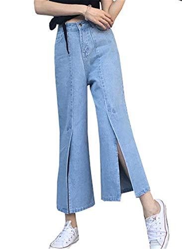 Novio Raja Fall Delantero Jeans 8 Pantalones Airy Casuales Botón Colour Culotte Mamá Flip Señoras De Ancha Cintura Mujeres Pierna Alta Clásico 7 Summer S0nOdqn1