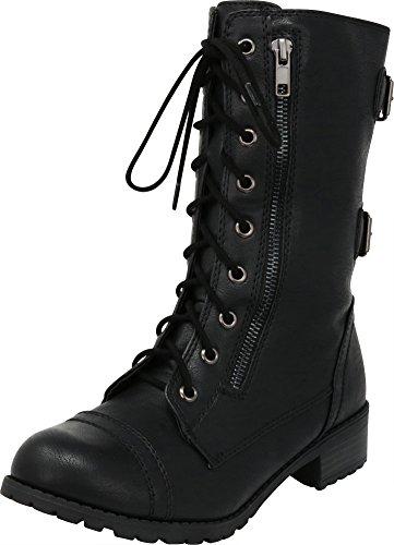 Cambridge Select Women's Lace-up Round Toe Buckle Zipper Chunky Heel Combat Boot,9 B(M) US,Black Pu - Chunky Buckle