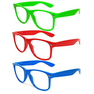 OWL - Non Prescription Glasses - Clear Lens - Green + Red + Blue (Pack of 3)