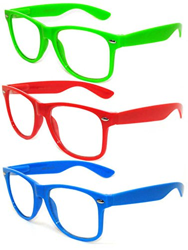 OWL - Non Prescription Glasses - Clear Lens - Green + Red + Blue (Pack of - Fake Online Shop Sunglasses Is