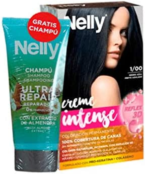 NELLY Creme Tinte. 1/00 Negro Azul + CHAMPÚ DE REG, Neutro ...