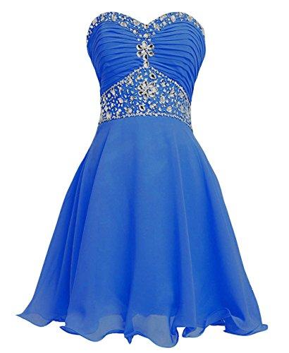 (Women's Short Chiffon Prom Dress Strapless Beaded Homecoming Dresses Dark Blue US12)