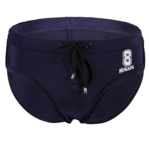 Honghu Men's Comfortable Printing Tie Swim Briefs Size L Navy