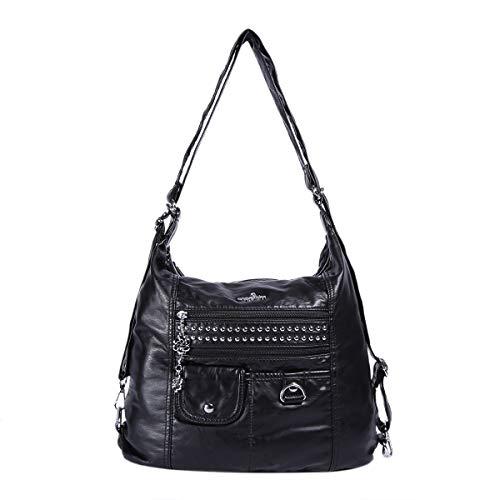 Angelkiss Soft Leather Bags Women Shoulder Handbags and Purses Ladies Multifunctional Satchel Hobo Messenger Crossbody Top-handle Bag Black, Medium