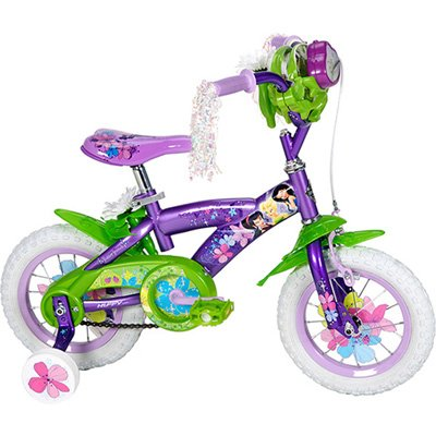 New Disney Fairies Tinkerbell 12 INCH Bike with Training Wheels, Tinker Bell and Friends Bag, and Handlebar Butterfly Dancer - Huffy Model 22413 by Disney Interactive Studios