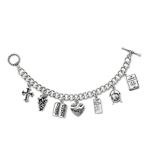 Answered Prayers Bracelet (925 Sterling Silver Rhodium-plated Polished & Antique Answered Prayer Dangling Locket Charm Bracelet 7.5