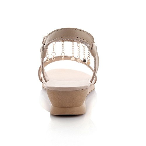 AllhqFashion Mujeres Sintético Velcro Puntera Abierta Plataforma Sólido Sandalia Albaricoque