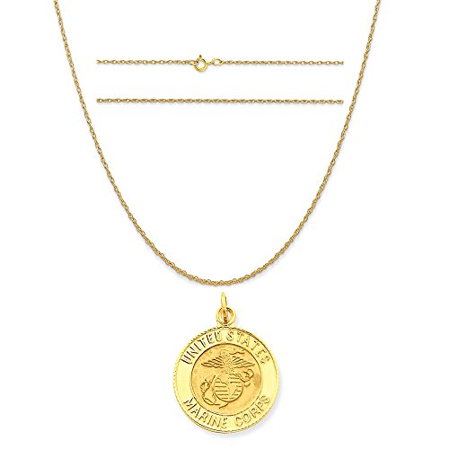 14k Gold Us Marine (14k Yellow Gold U.S. Marine Corps Insignia Disc Pendant on 14K Yellow Gold Rope Necklace, 16