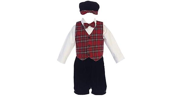 Lito Baby Boys Red Black Plaid Pattern Vest Velvet Knicker Set Outfit 3-24M