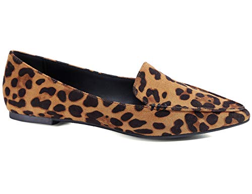 (Greatonu Women's Faux Suede Comfort Slip-on Penny Loafer Flat Shoes (10 US, Leopard Prints) )