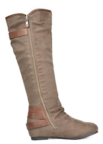 Knee Women's Wedge Low PAIRS khaki High DREAM Akris Boots Hidden qEw1gnv