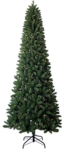 Santa's Workshop 13520 PVC Slim Tree with UL Lights, 9', Green 9' Slim Christmas Tree