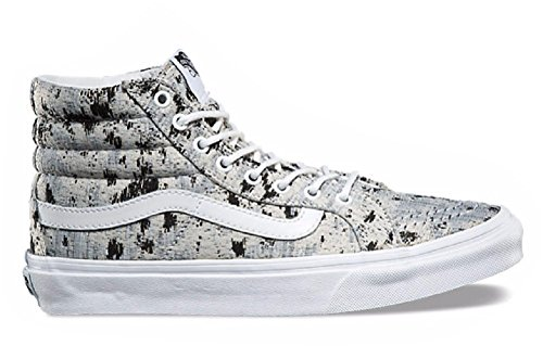 Vans Womens Sayings Sk8-hi Scarpe Da Skate Slim (detti) True White (8.5 B (m) Us Women / 7 D (m) Us Men, (italian Weave) Abstract / True White)