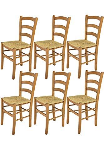 Tommychairs sillas de Design - Set 6 sillas Modelo Venice para Cocina, Comedor, Bar y Restaurante, con Estructura en Madera Color Roble y Asiento en Paja