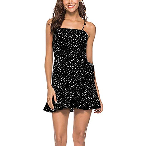 WEISUN Womens Summer Dress Female Casual Floral Dress Beach Adjustable Spaghetti Straps Short Dress Halter Dress - On Halter Sale Jumper