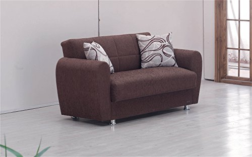 BEYAN Boston Collection Modern Convertible Upholstered Love Seat with Storage Space and Includes 2 Pillows, Dark (Reclining Sleeper)