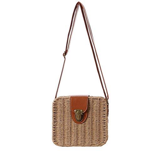 Mujeres Paja Tejer Bolsa Crochet Crossbody Bolsa Bolsa de hombro Messenger Carteras Playa Bolso de mano Marrón Claro