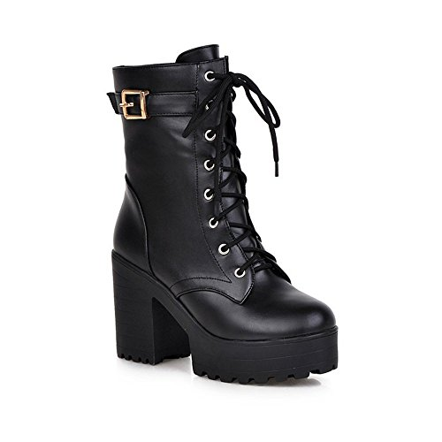 Qiangsoo Women's Lace-up Buckle Boots Combat Platform Chunky Heel Martin Boots