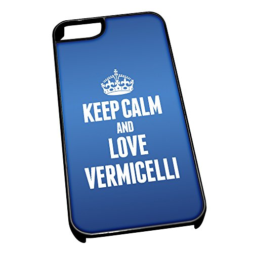 Nero cover per iPhone 5/5S, blu 1640 Keep Calm and Love vermicelli