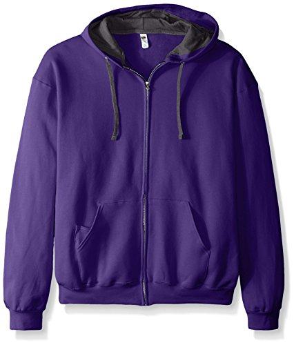 (Fruit of the Loom Men's Full-Zip Hooded Sweatshirt, Purple, XX-Large)