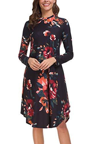 Kranda Women's Long Sleeve High Neck Floral Casual Swing T-Shirt ()