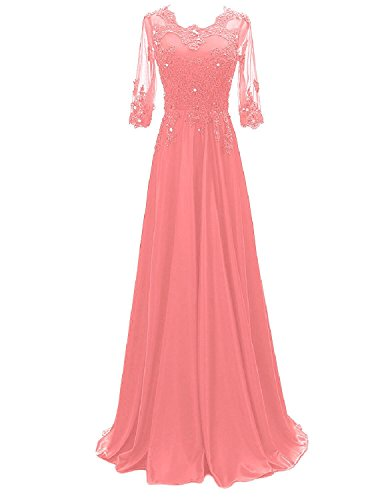 Long Coral (OYISHA Womens 1/2 Sleeve Lace Beaded Evening Dress Long Formal Party Gowns AWY2 Coral 18W)