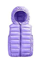 Boys Duck Down Vest Winter Packable Hooded Puffer Jacket Coat Vest Dark Blue