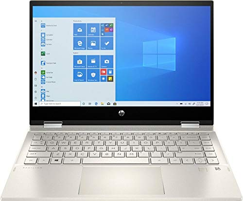 "HP Pavilion x360 2-in-1 14"" FHD Touch-Screen Laptop, Intel Core i5-1035G1, Intel UHD Graphics, HDMI, HD Webcam, Wi-fi 6, Backlit Keyboard, Fingerprint Reader, Win 10, Gold (8GB RAM 